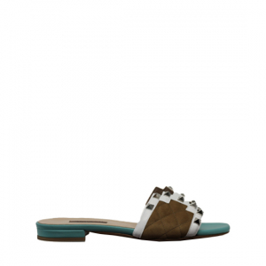 Albano - Cyan and brown slippers