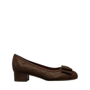 Le Babe - Quilted brown leather ballerinas